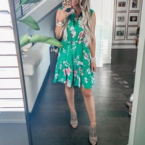 Charles Henry Green floral tie waist dress